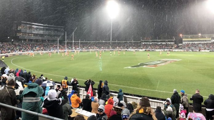 Snow at the Footie; it Does Get Cold in Australia