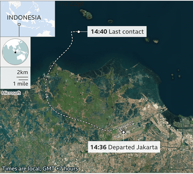 GRAVE FEARS FOR MISSING INDONESIAN AIRCRAFT WITH 62 ON BOARD