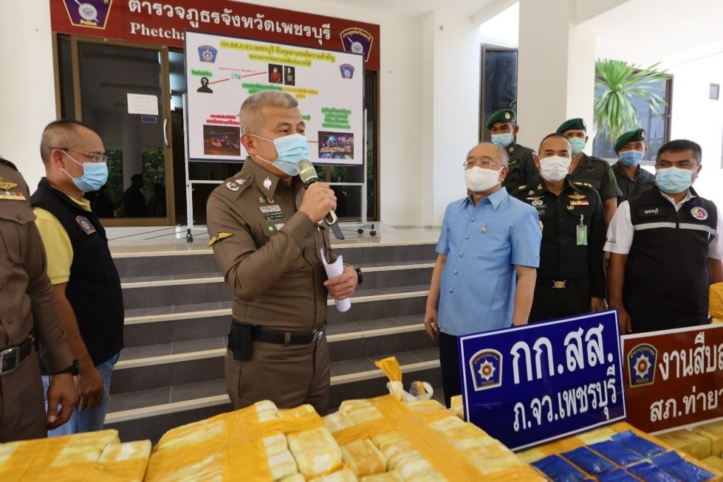 TOUR BUS INTERCEPTED IN PHETCHABURI CARRYING DRUGS VALUED AT 165 MILLION THB