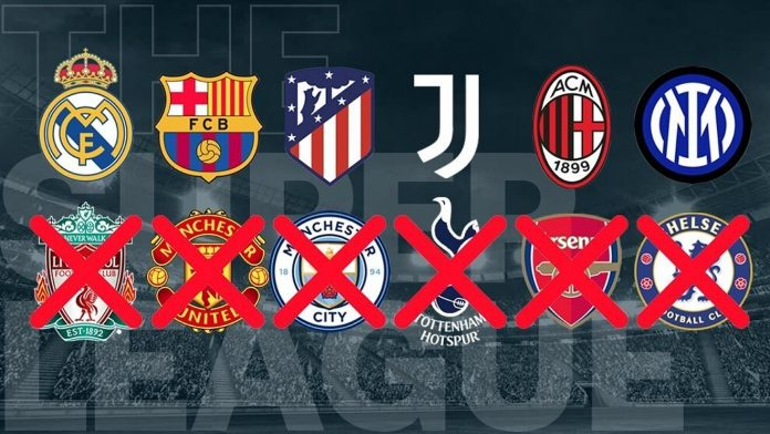 EURO SUPER LEAGUE – ALL SIX ENGLISH CLUBS WITHDRAW WITH APOLOGIES TO THEIR FANS