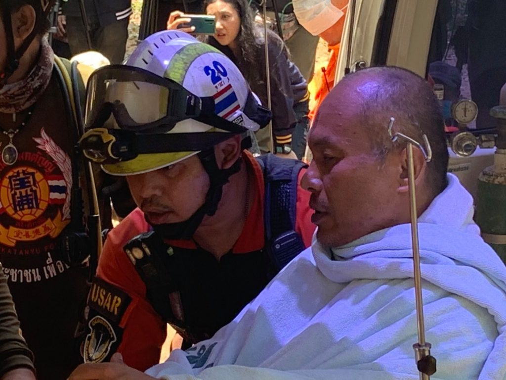 MONK RESCUED FROM A FLOODED CAVE IN NORTHERN THAILAND